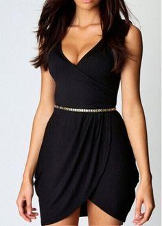 Chic V Neck Sleeveless Black Dress for Woman