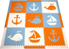 A fun and trendy color scheme for playrooms and nurseries. This SoftTiles Nautical Themed Play mat is Orange, White, and Light Blue.