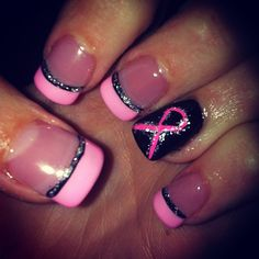 Breast cancer nails I'd do white instead of black Fancy Nails, Diy Nails, Cute Nails, Pretty Nails, Breast Cancer Nails, October Nails, Finger, Toe Nail Designs, Nails Design