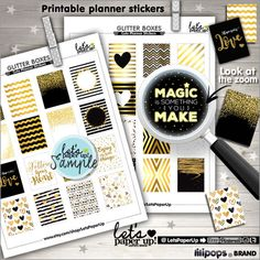 ★New listing! Black & gold ECLP printable stickers - Erin Condren full boxes for print