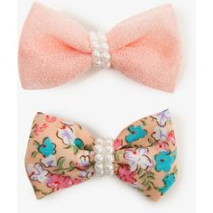 Pearlescent Bow Hair Clips ($1.80) ❤ liked on Polyvore