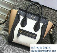 Celine Luggage Nano Tote Bag in Original Leather Black/White/Apricot 2016