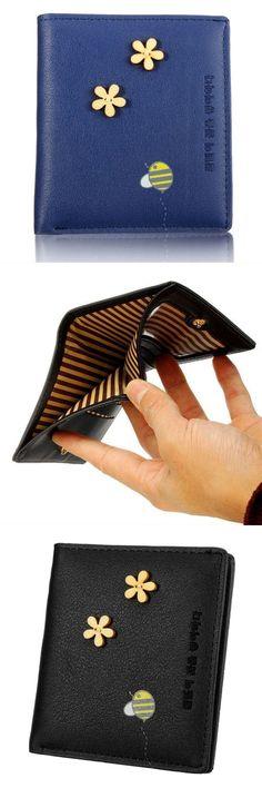 LADIES PURSE 3D Flower Clutch Style Zip Round Coin Pocket Card Wallet Pink Black