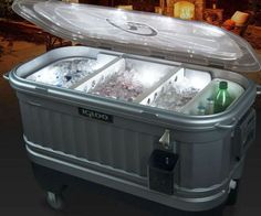 Keep your drinks frosty and the party bumping all day by keeping your beverages in this light up drink cooler. It features a fully insulated body to ensure the temperature stays cool and built-in LEDs so you can keep going after the sun sets. Party Cooler, Ice Cooler, Best Soft Cooler, Ice Houses, Beer Opener, Bar Areas, Pool Decks, Fun Drinks, Beverages