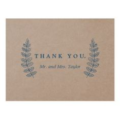 rustic floral faux kraft thank you postcard