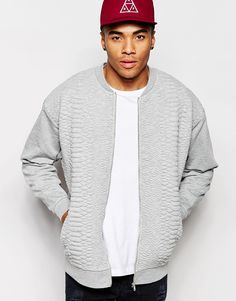 Image 1 of ASOS Oversized Quilted Jersey Bomber Jacket