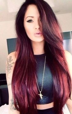Dark red wine with a purple tint by Estefany Vega ❤   Hairstyles ...