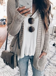 Grey Cardigan & White Knit... works in early Fall. You could wear a black tee instead of white and charcoal nail color.