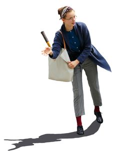 blue long coat, blue top, white bag, grey pants, red socks, black oxford shoes
