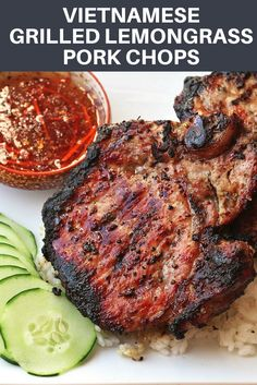All you need is a few common ingredients for the marinade—shallots, lemongrass, garlic, sugar, peppe Vietnamese Pork Chops, Vietnamese Grilled Pork, Vietnamese Recipes, Asian Recipes, Vietnamese Food, Asian Pork Chops, Vietnamese Sandwich, Chinese Recipes, Grilled Meat