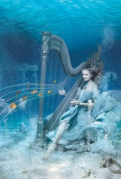 Dream imagination Underwater blue ocean lady