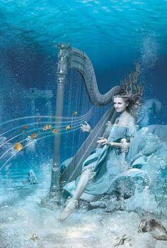 Dream imagination Underwater blue ocean lady