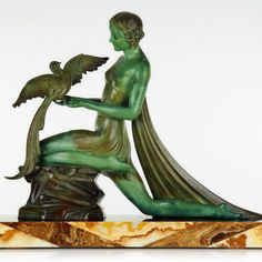HUGE 1920s French ART DECO Bird Lady SCULPTURE by LIMOUSIN, signed