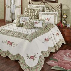 Embroidery Roses Wake in your very own Cordial Garden with this floral quilted oversized bedspread. The cotton/polyester Grande Bedspread features rose and vine embroidery. Shabby Chic Bedding Sets, Country Bedding Sets, Purple Bedding Sets, Rustic Bedding, Shabby Chic Bedrooms, Comforter Sets, Vintage Bedding, Matching Bedding And Curtains, French Country Bedrooms