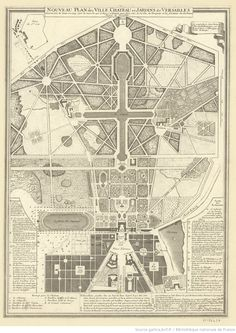 size: Giclee Print: New Plan of the Town, Castle and Gardens at Versailles, : Maps Framed Artwork, Wall Art, French History, French School, Fantasy Places, Gradient Color, Printing Process, Find Art, Gardens