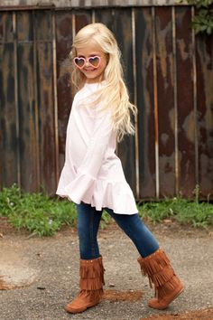 Pre Order Girl's ST Light Pink High Low Peasant Top (October) – Southern Tots