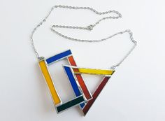 Pendentif vitrail-Mondrian-rectangle-triangle-bleu-rouge-jaune-noir-moderne-hipster-géométrique