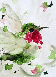 Hummingbird Watercolor Original Bird Art by RedbirdCottageArt