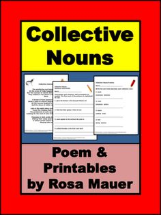 You will receive a poem about animals that is packed with collective nouns. Suggested activities and two printable worksheets are included.