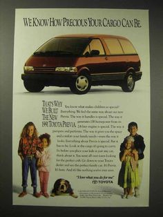 This listing is for a vintage paper advertisement. This is a 1991 ad for a Toyota Previa! The size of the ad is approximately The caption for this ad is 'We know how precious your cargo can be' The ad is in great condition. Toyota Previa, Vintage Paper, Ads