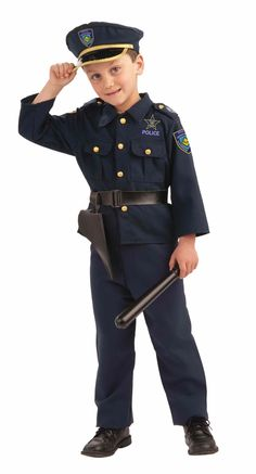 Police Boy Halloween Costume - This is a kid's police costume. Dress up like a cop for Halloween and protect and serve. This four-piece costume comes with a shirt, pants, belt with holster and hat. The shirt and pants are matching dark blue. The shirt has brass button up the front and breast pockets. There are epaulets with more brass buttons and the sleeves display badges. #police #kids #children #costume #yyc #calgary #uniform