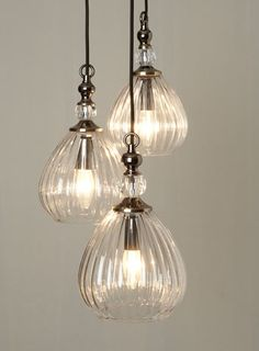 BHS // Vintage // Mirielle 3 Light Cluster // Vintage style ribbed glass perfume bottle cluster pendant