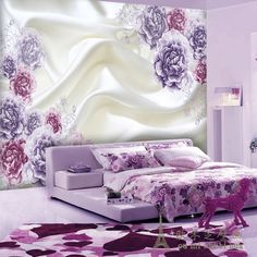 Large fresh and stylish living room bedroom TV backdrop Continental floral wallpaper 3D stereoscopic personalized wallpaper mura