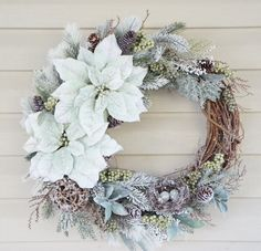 Unique Christmas Door Wreath with Sea Foam by BrandyByDesignLtd Christmas Door Wreaths, Green Velvet, Sea Foam, Poinsettia, Beautiful Christmas, Grapevine Wreath, Thoughtful Gifts, Grape Vines, Arts And Crafts