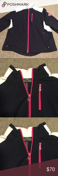 Ralph Lauren Athletic Zip Up Jacket Ralph Lauren Sport Athletic Zip Up Jacket. I wore it once on a walk outside in the fall but I have too many zip ups. Excellent used condition, no flaws. Has one zippered chest pocket and two front pockets. Jacket is navy with white and magenta accents. Very flattering cut and shape. Ralph Lauren Jackets & Coats
