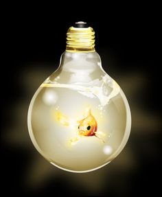 """Made by Rebecca Berg from Sweden, """"Goldfish in Light Bulb"""""""