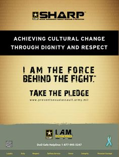 I. A.M. STRONG is the Army's campaign to combat sexual assaults by engaging all Soldiers in preventing sexual assaults before they occur.    Grounded by our shared belief in the Army Values, we are a band of brothers and sisters, placing mission first, never accepting defeat, never quitting and never leaving a fallen comrade. Our interdependence and shared respect among comrades frames who we are as a Team and an Army - a Team that finds sexual assault reprehensible and beyond toleration.