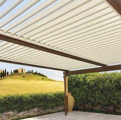 Prodotto Pergola modello Eterna sistema con lamelle orientabili ideale per ambienti esterni