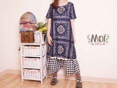 Moi 風格服飾舒適有型 民族風平織洋裝-藏青