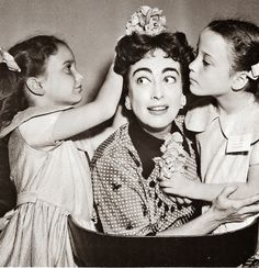 Joan Crawford with daughters Cathy Crawford and Cynthia Crawford