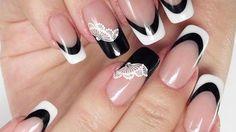 Black and White French nail art idea