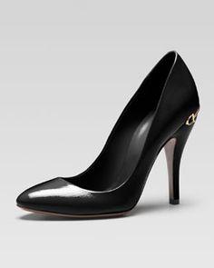 X1HNC Gucci Horsebit-Heel Patent Leather Pump, Black