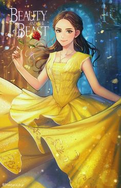 Beauty and the Beast- Belle in Anime style