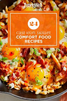 Grab your cast-iron skillet and make one of these warming and delicious recipes. From breakfast to dinner to dessert, these comforting dishes are perfect when you want something familiar. Recipes like Cast-Iron Skillet Pizza with Red Peppers, Chicken & Spinach and Peanut Butter-Chocolate Chip Skillet Cookie are comfort food at its best. #comfortfood #healthyrecipes #healthycomfortfood #healthyrecipes Skillet Chocolate Chip Cookie, Skillet Cookie, Ranch Chicken Casserole, Skillet Chicken, Healthy Dinner Recipes, Delicious Recipes, Yummy Food, Cast Iron Skillet Pizza, White Sauce Recipes