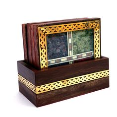 Buy Jaipur Craft's Designer Brass Inlay Work Gem Stone Filled Unique Wooden Traditional Handmade Tea Coaster Set of 4 Jaipur, Quality Handicraft Decorative Gift Item Online at Low Prices in India - Amazon.in Tea Coaster, Corporate Gifts, Jaipur, Handicraft, Home Crafts, Decorative Boxes, Brass, Indian, Traditional