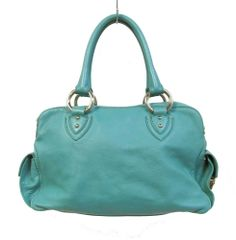 Authentic Marc Jacobs Turquoise Leather Side Pocket Satchel Silver Hardware $224.99