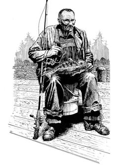 Coloring page Fisherman Adult colouring in printables Pinterest