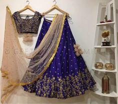 This blue lehenga choli From crazy butik for women is made of TAFFETAA SILK material, it is inclusive of a lehenga, choli and a dupatta.(Sligtly variation in color and work) Half Saree Designs, Lehenga Designs, Blouse Designs, Indian Designer Outfits, Indian Outfits, Saree Designs Party Wear, Lehnga Dress, Saree Blouse, Silk Lehenga
