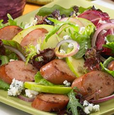 It only makes sense to build a salad teeming with apples, feta and sturdy greens around flavorful apple chicken sausage. Crisp Apple and Sausage Salad is great for lunch too - just pack the dressing separately.