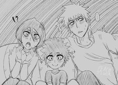Ichigo Kurosak and Rukia Kurosaki from Bleach, with their second son, Youko. And old piece I did for IchiRuki Month in Buy Me a Coffee! Bleach Anime Art, Bleach Fanart, Ichigo E Rukia, Rukia Bleach, Bleach Funny, Bleach Couples, Scary Movies, Anime Shows, Sword Art Online