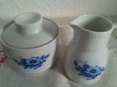 Porzellan Winterling Set Zuckerdose Milchkännchen Blau Blumen Rosen