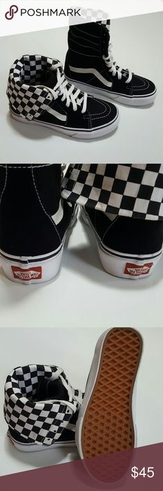Vans Checkered High Tops These amazing sneakers are by Vans off the wall and are brand new without tags or box. They are high tops and the inside is a checkered checkerboard pattern of black and white. Perfect condition! Great with your favorite shirt and jeans. Vans Shoes Sneakers
