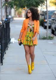 Singer Elle Varner in African Print Dress and inspired blazer.