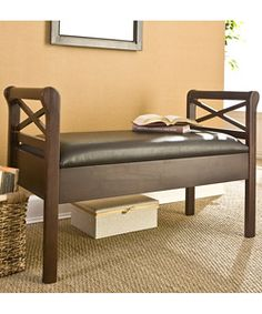 Expect more from your furniture when you use this convenient leather storage bench. With sleigh-style armrests and a warm espresso finish, the bench blends comfort and style. Better yet, the bench top opens to reveal discreet, generous storage. Leather Storage Bench, Storage Benches, Entryway Furniture, Furniture Ideas, Modern Bench, Foyer Decorating, Best Interior Design, Storage Spaces, Storage Units