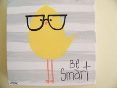 bird with glasses 6x6 original canvas painting kids by messypaint, $20.00
