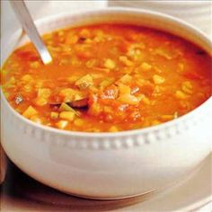 Tasty and healthy vegetable based soup, to be made in a slow cooker! Under 100 Cal and loaded with Vitamin A and Vitamin C